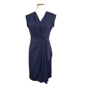 Michael Kors Navy Wrap Dress Sleeveless Gold M